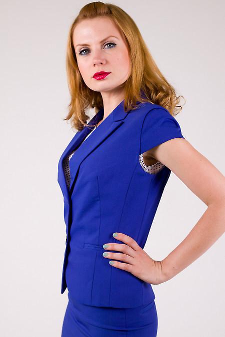 Фото Жакет синий с коротким рукавом Деловая женская одежда