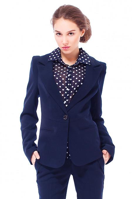 Купить жакет синий теплый с отрезной талией Деловая женская одежда