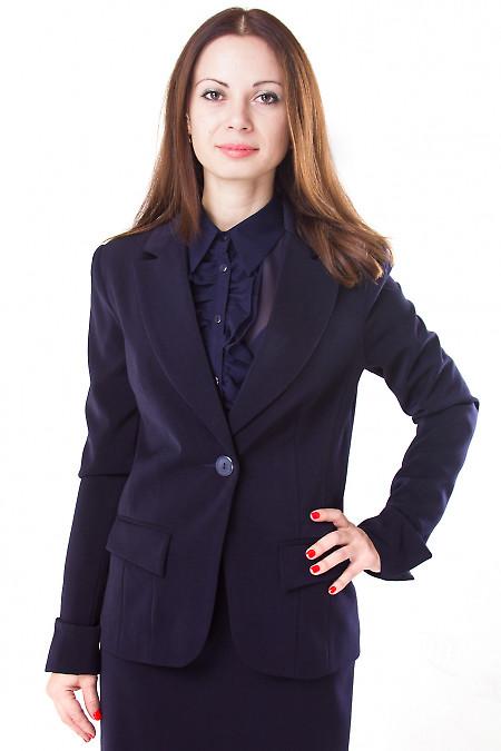 Фото Жакет теплый темно-синий Деловая женская одежда