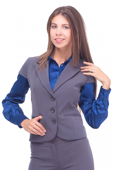 Жилет серый теплый на три пуговицы Деловая женская одежда