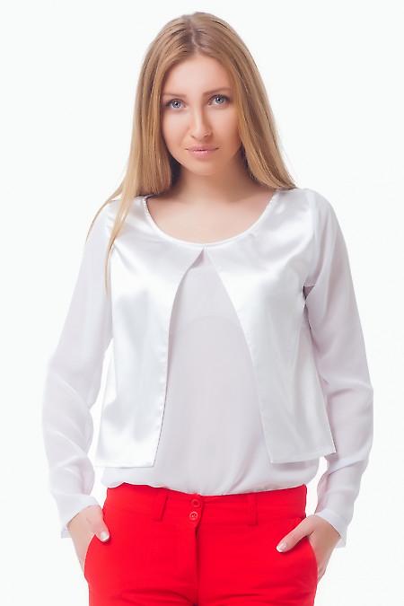Блузка белая с атласной вставкой Деловая женская одежда