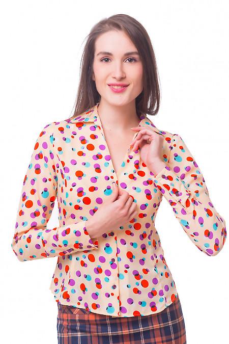 Блузка бежевая в сиреневый горох Деловая женская одежда