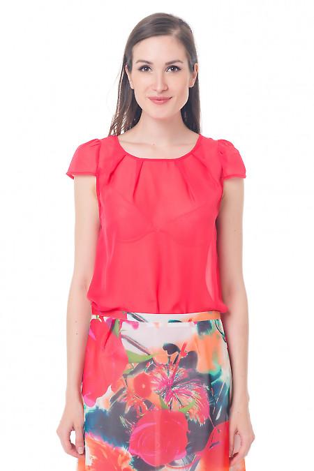 Блузка коралловая с рукавчиком Деловая женская одежда