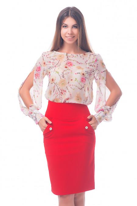 Фото Блузка молочная в цветы Деловая женская одежда