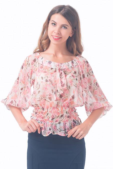 Блузка на резинке в розовые цветочки Деловая женская одежда