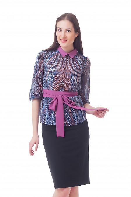 Блузка шифоновая с сиреневым поясом Деловая женская одежда