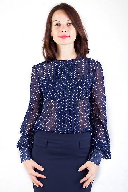 Фото Блузка синяя в бантики Деловая женская одежда