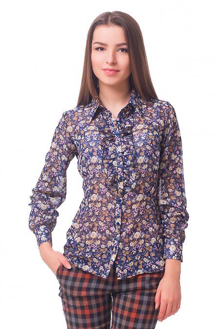 Блузка синяя в коричневый цветочек с рюшем Деловая женская одежда