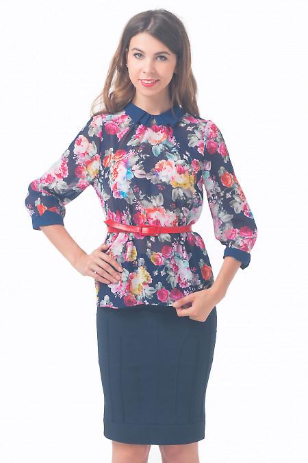 Блузка синяя в розы Деловая женская одежда