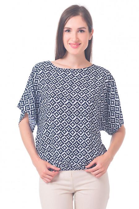 Блузка в ромбики на резинке Деловая женская одежда