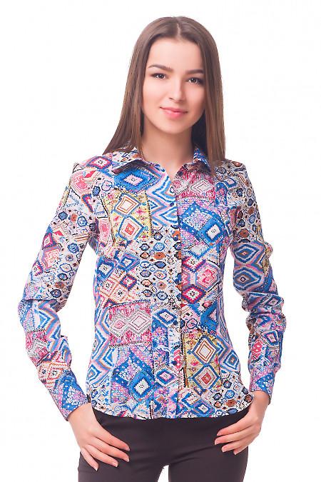 Блузка в синие ромбики Деловая женская одежда