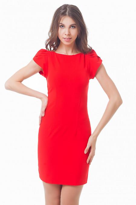 Красное платье-футляр с рукавчиком Деловая женская одежда