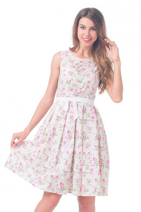 Платье белое в розочки Деловая женская одежда