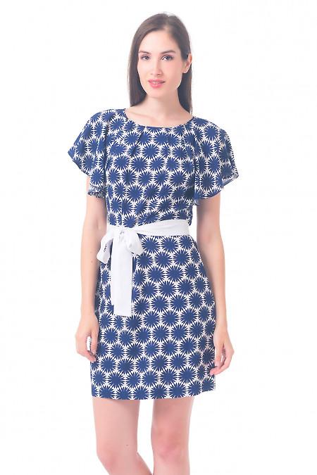 Платье белое в синие ромашки Деловая женская одежда