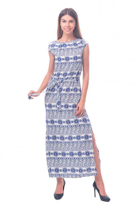 Фото Платье длинное в синий узор Деловая женская одежда