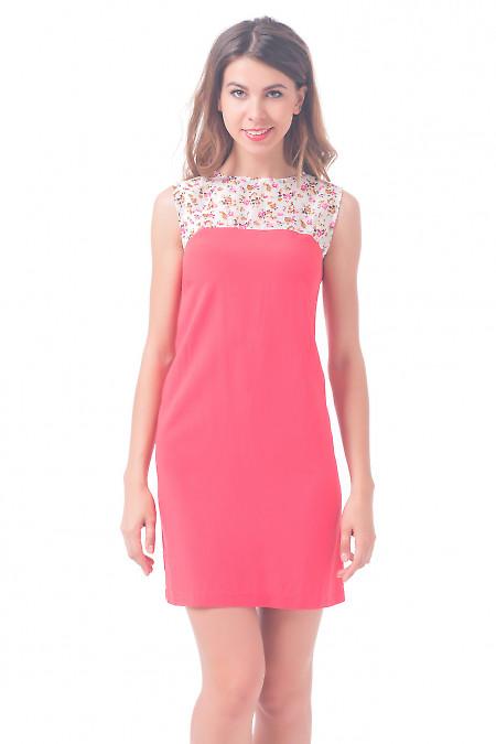 Платье коралловое с шифоновым верхом Деловая женская одежда