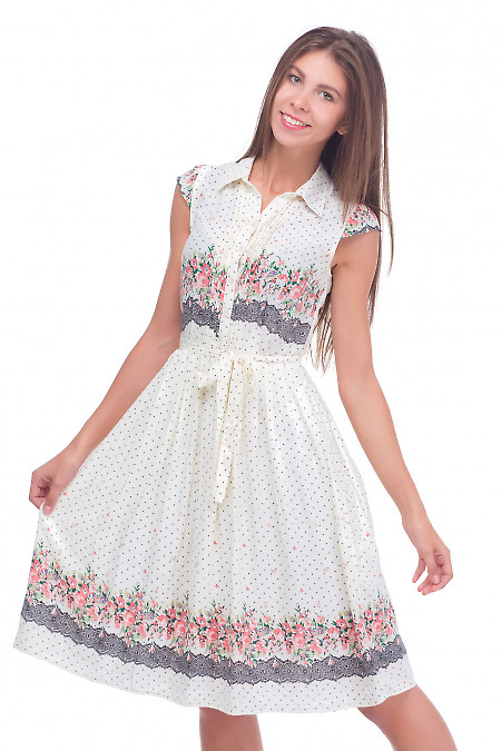 Платье молочное со складочками Деловая женская одежда