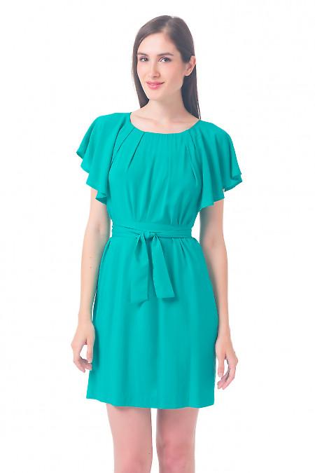 Платье мятного цвета с рукавчиком Деловая женская одежда