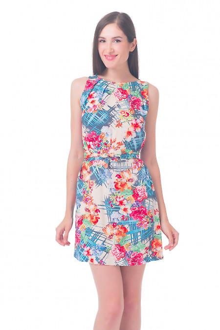Платье с защипами в розы Деловая женская одежда