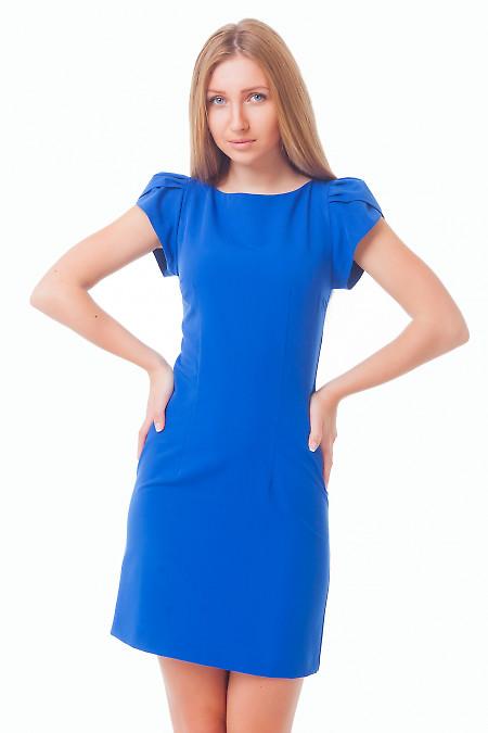 Платье синее с рукавчиком Деловая женская одежда