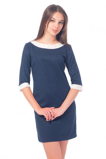 Платье синее теплое с белым воротником Деловая женская одежда