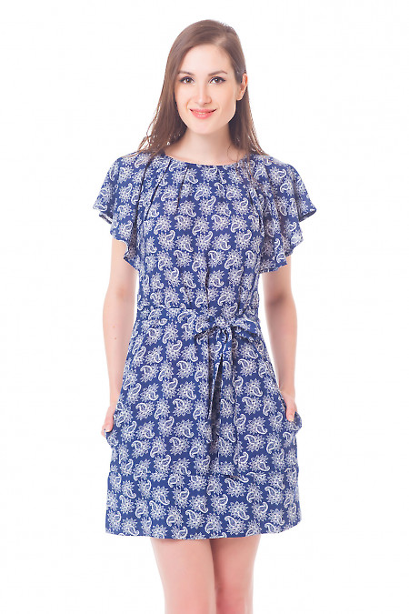 Платье синее в белые огурцы Деловая женская одежда