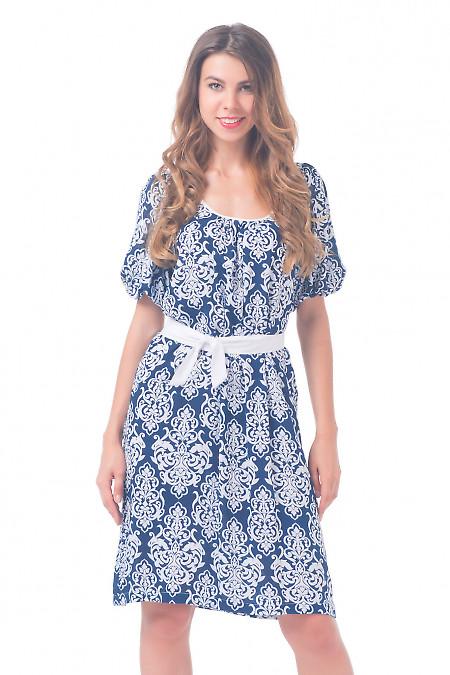 Платье темно-синее с белым поясом Деловая женская одежда