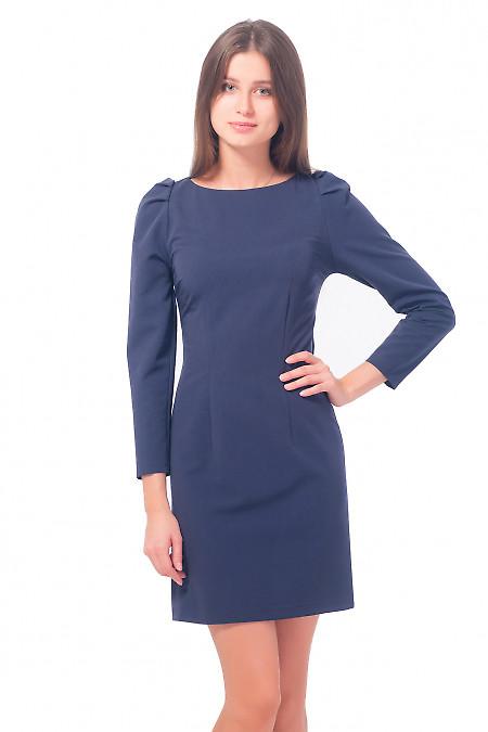 Платье темно-синее с длинным рукавом-фонариком Деловая женская одежда
