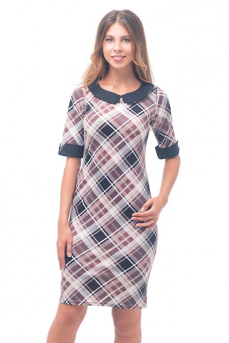 Платье в клетку с черным воротником Деловая женская одежда