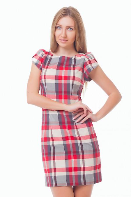 Платье в красно-серую клетку Деловая женская одежда