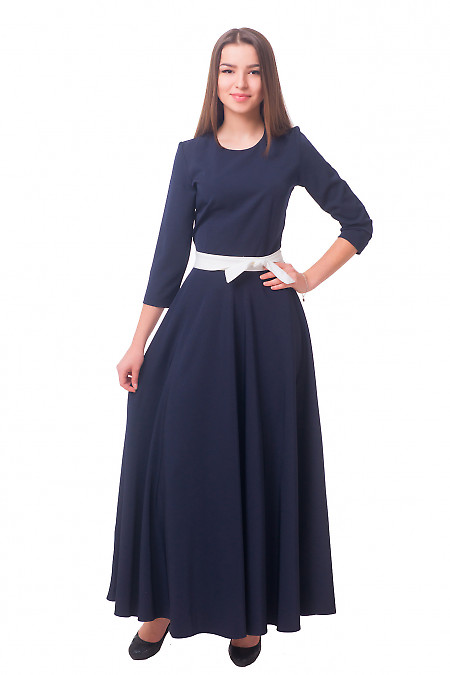 Синее длинное платье Деловая женская одежда