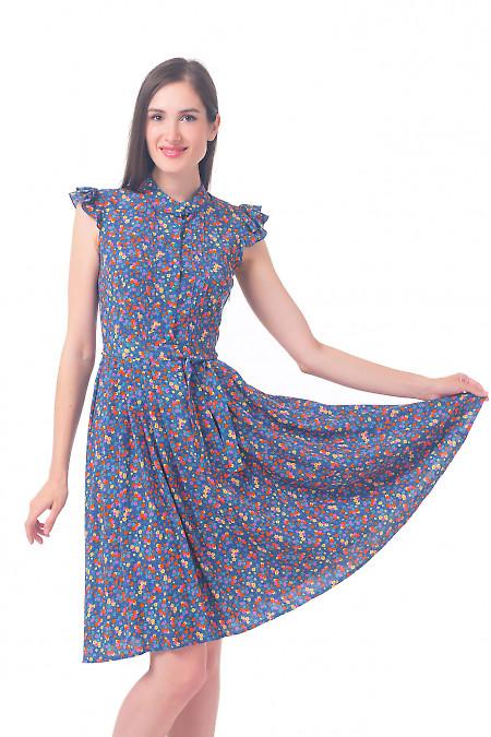 Синее платье в оранжевый цветочек Деловая женская одежда