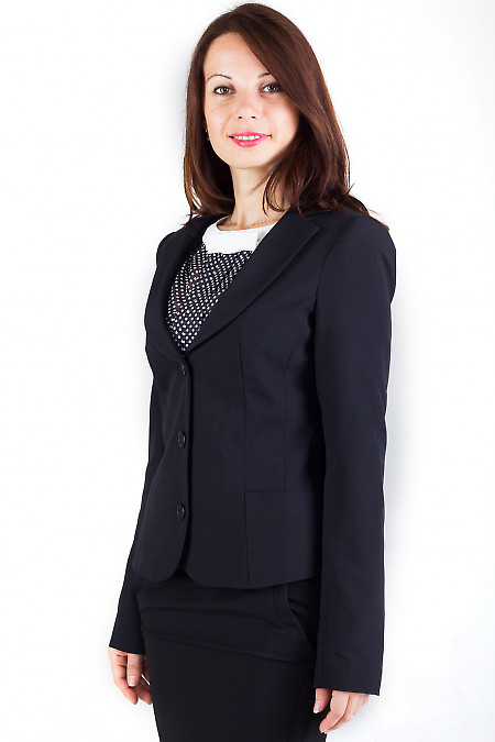 Фото Жакет черный приталенный Деловая женская одежда