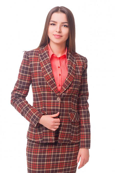 Жакет в красно-серую клетку на одной пуговице Деловая женская одежда