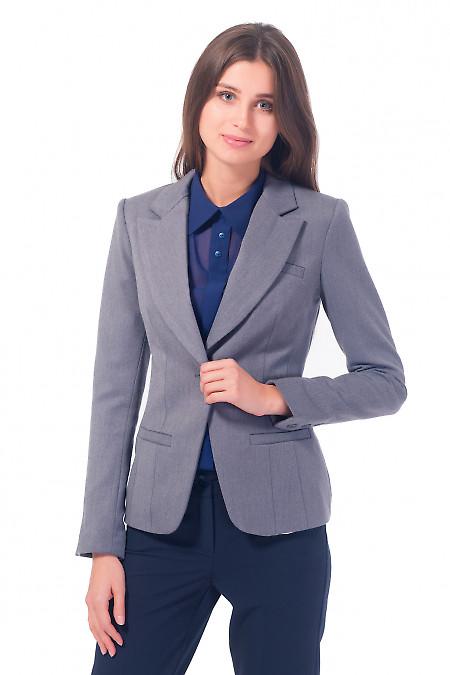 Женский серый жакет с одной пуговицей Деловая женская одежда