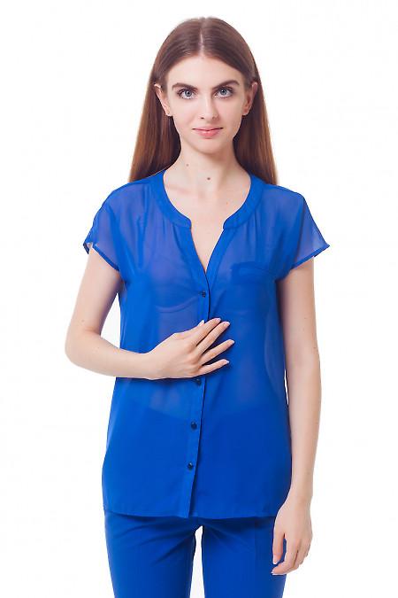 Блузка электрик с карманом на груди Деловая женская одежда