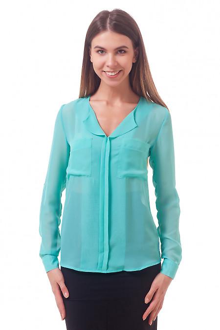 Фото Блузка из шифона мятного цвета Деловая женская одежда