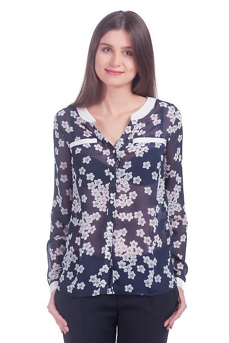 Фото Блузка из шифона синяя в цветы Деловая женская одежда