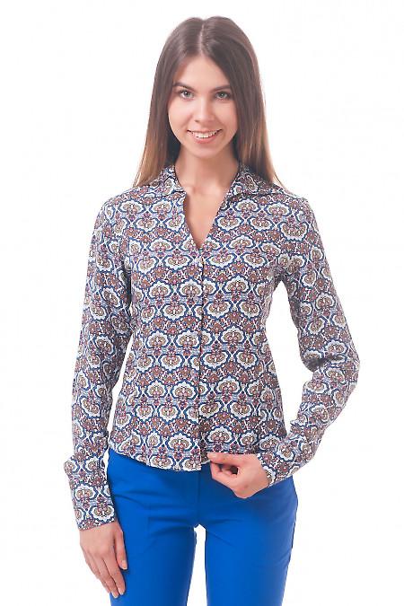 Фото Блузка из штапеля с рисунком Деловая женская одежда