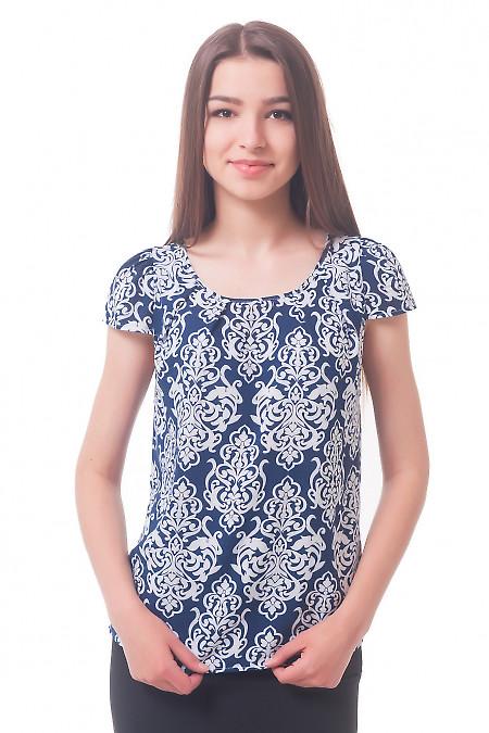 Блузка из синего штапеля в белый узор Деловая женская одежда