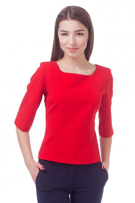 Блузка красная с рукавом в три четверти Деловая женская одежда