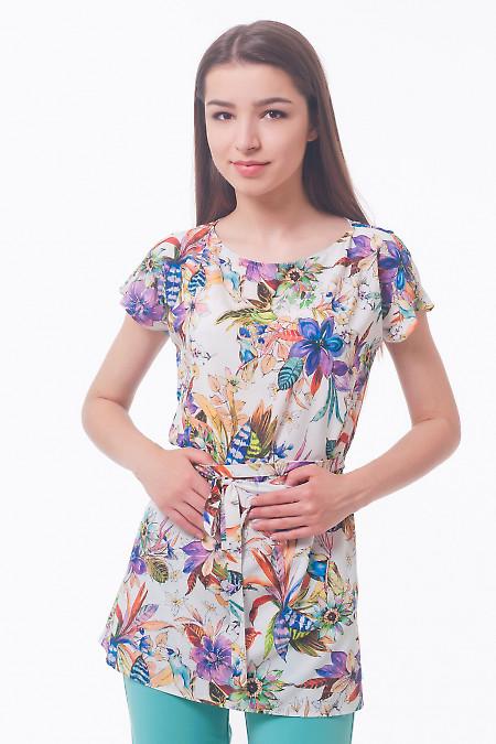 Блузка летняя с поясом Деловая женская одежда