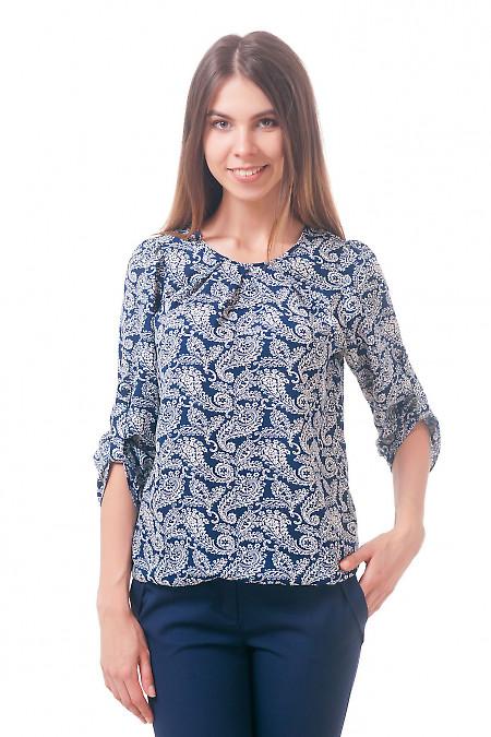 Фото Блузка на резинке синяя в огурцы Деловая женская одежда