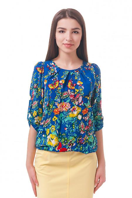 Фото Блузка на резинке в бабочки Деловая женская одежда