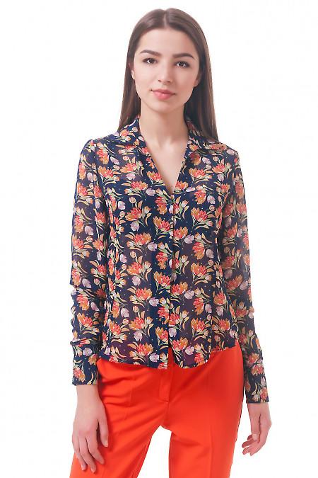 Фото Блузка синяя в тюльпаны Деловая женская одежда