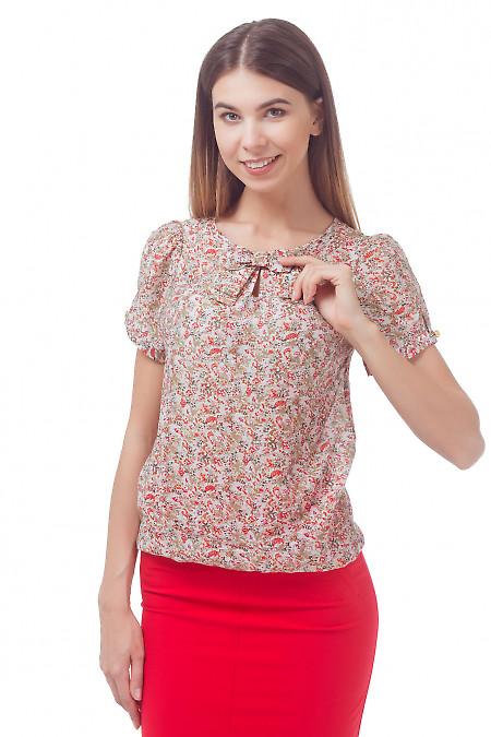 Блузка в красный цветочек с бантиком Деловая женская одежда