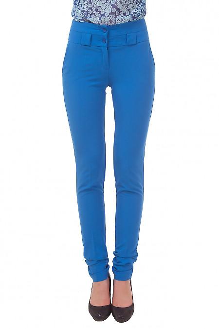 Брюки голубые с завышенной талией Деловая женская одежда