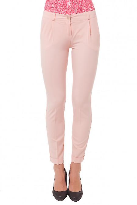 Брюки розовые с манжетой Деловая женская одежда