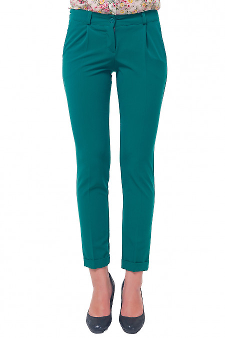 Брюки женские зеленые с манжетой Деловая женская одежда