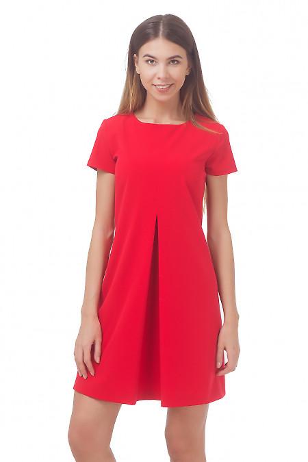 Платье красное со встречной складкой Деловая женская одежда